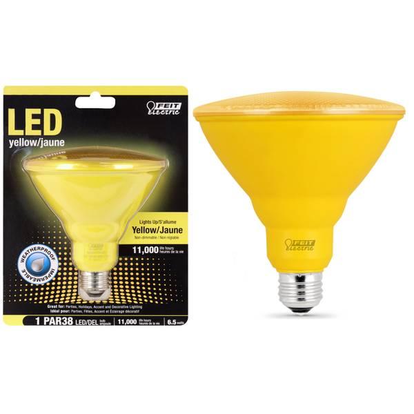 65W LED PAR38 Light Bulb, E26 Base, YelloW