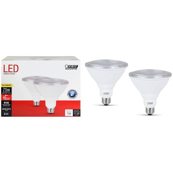 105W/75W Non-Dimmable LED PAR38, E26 Base, 2-Pack
