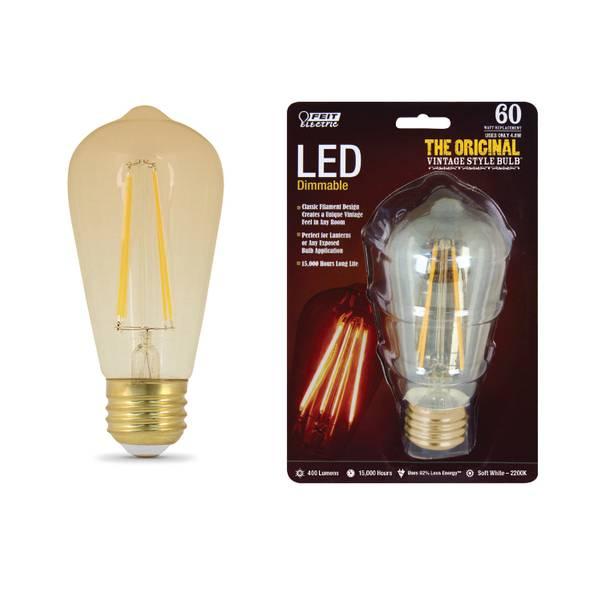 42W/60W Vintage LED ST19 Light Bulb, E26 Base