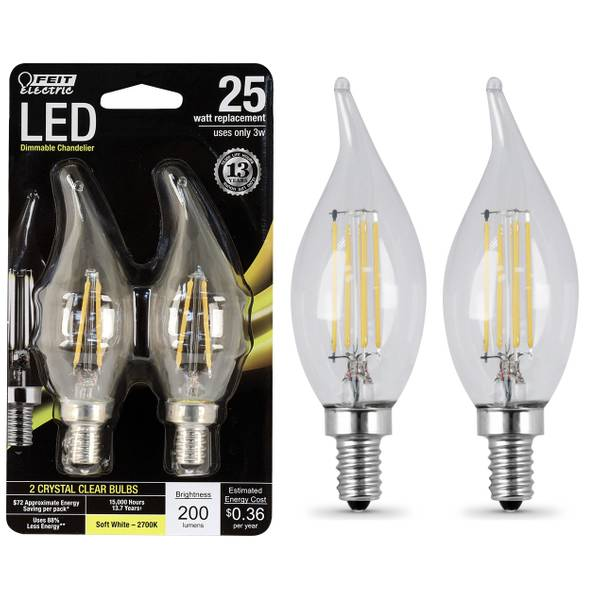 Dimmable Flame Tip LED Bulb - 2 Pack