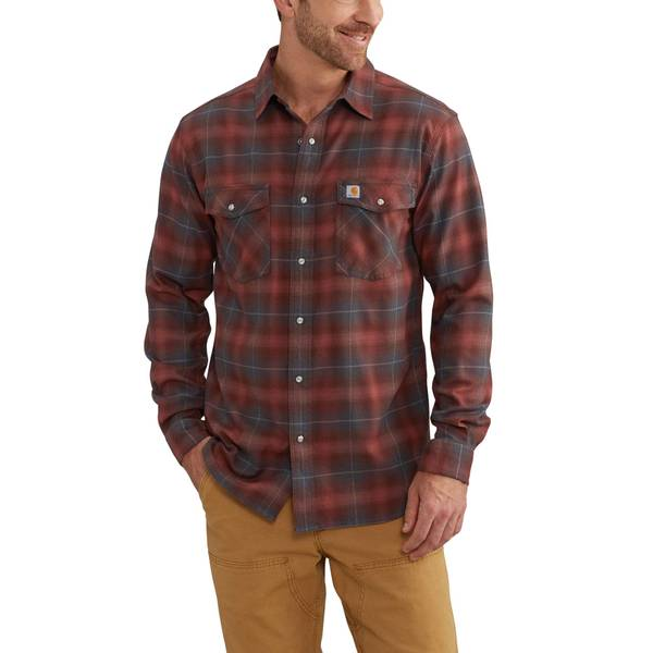 Rugged Flex Long Sleeve Snap Plaid Shirt