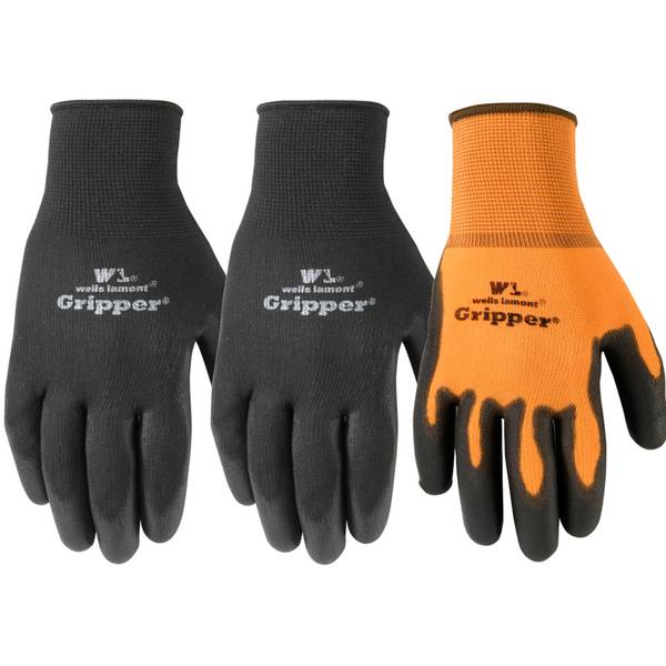 Mens 3pk PU Coated Gripper Glove