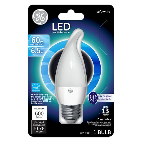 GE LED 7W CHANDLR MED BS WHT 1CT