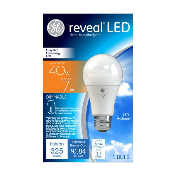 Reveal Dimmable LED A19 Light Bulb