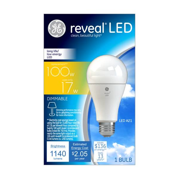 Reveal Dimmable LED A21 Light Bulb