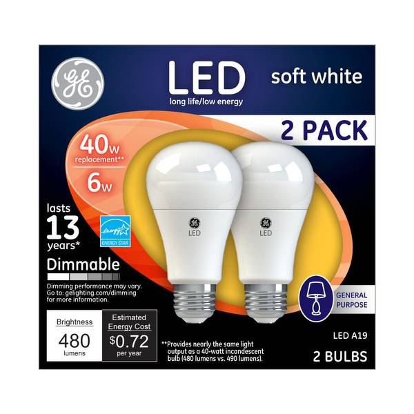 Dimmable LED Bulb - 2 Pack