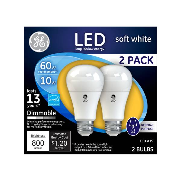 Dimmable General Purpose Bulbs - 2 Pack