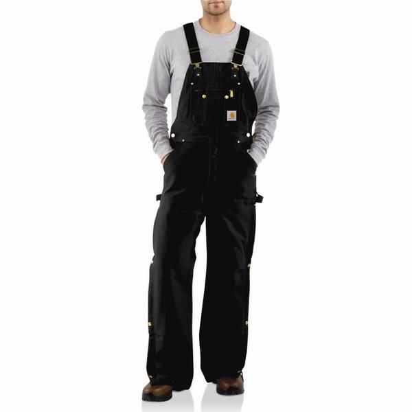 Men's Quilt Lined Zip to Thigh Duck Bib Overalls