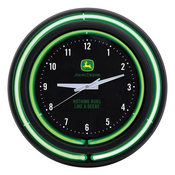 John Deere Black Face Green Neon Clock