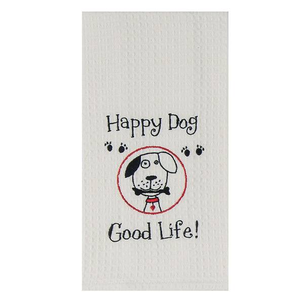 Happy Dog Embroidered Waffle Towel