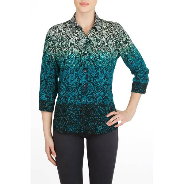 Misses Ombre 3/4 Length Sleeve Woven Shirt