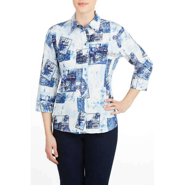 Misses Rome 3/4 Length Sleeve Front Button Shirt
