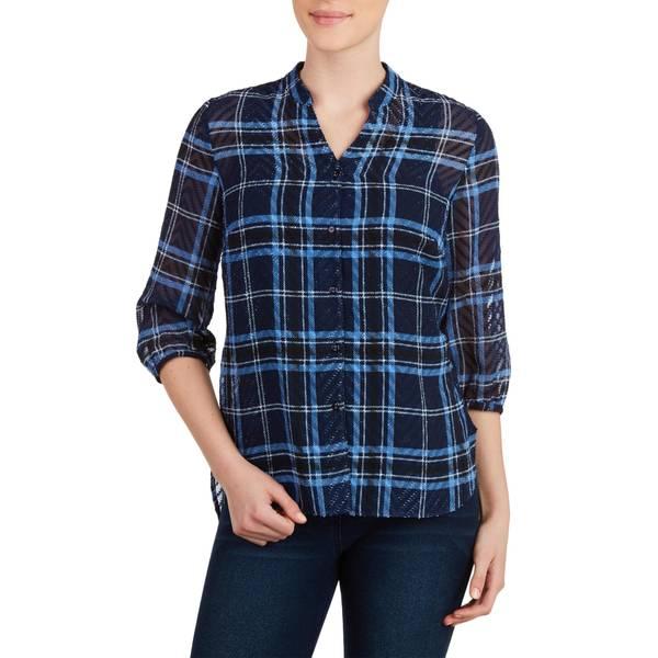 Misses Denim Plaid 3/4 Length Sleev Collar Blouse