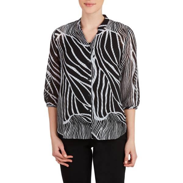 Misses Zebra 3/4 Length Sleeve Collar Blouse