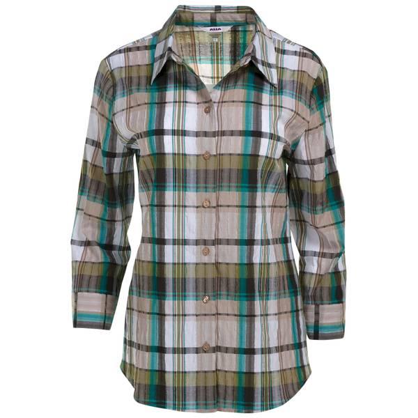 Women's Black Plaid 3/4 Sleeve Woven Button Down Shirt