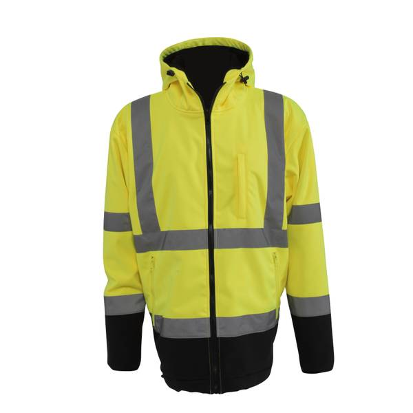 Men's Yellow & Black Hooded Soft Shell Jacket
