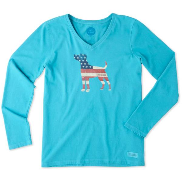 Misses Cool Turquoise Dog Flag Long Sleeve Crusher Tee