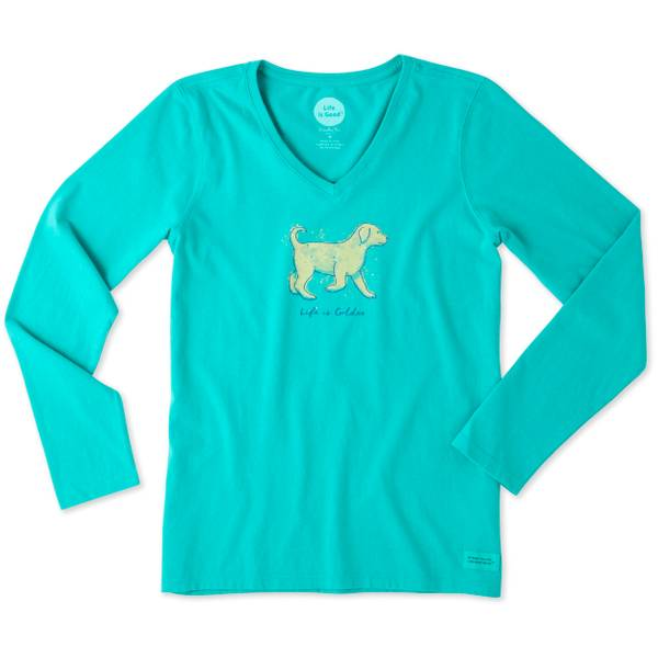 Misses Bright Teal Life is Golden Long Sleeve Crusher Tee