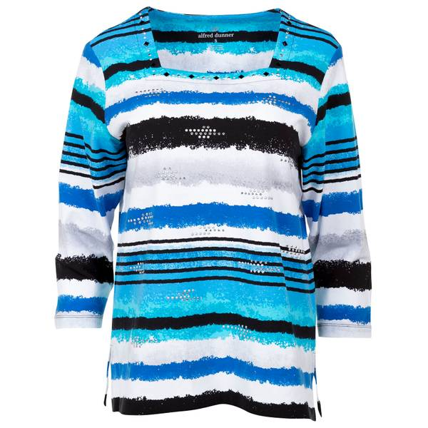 Misses Multi-Colored Watercolor Stripe Top