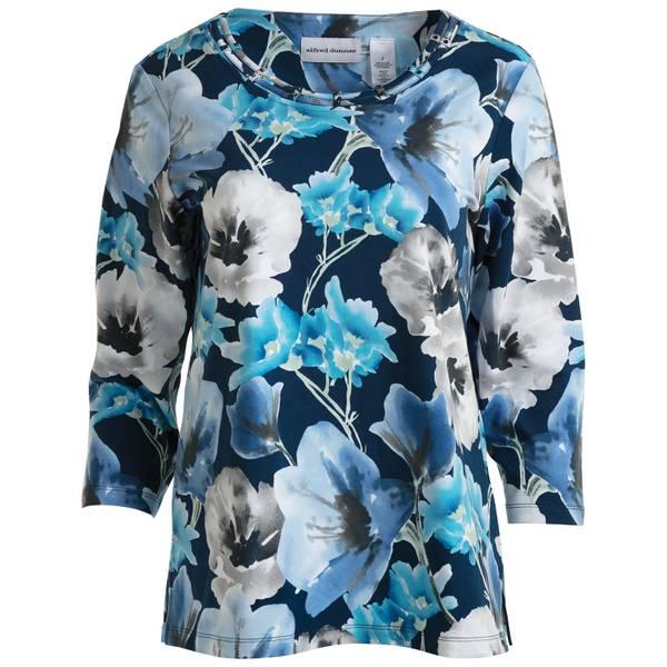 Women's Lapis Floral Print Knit Top