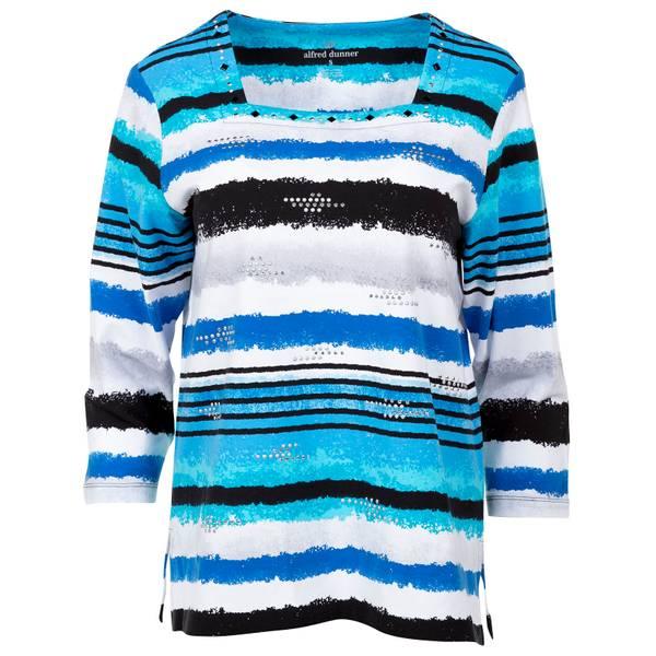 Women's Multi-Colored Watercolor Striped Top