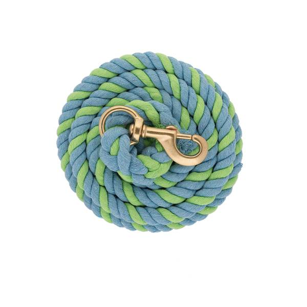 10' Lime Green & Blue Striped Cotton Lead Rope