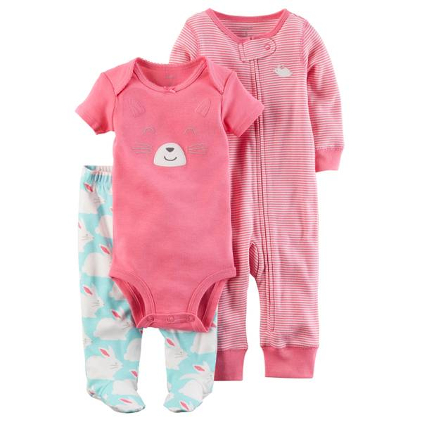 Baby Girls' 3-Piece Jumpsuit & Outfit Set