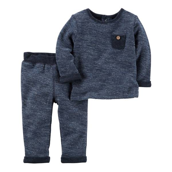 Baby Boys' Blue 2-Piece French Terry Set