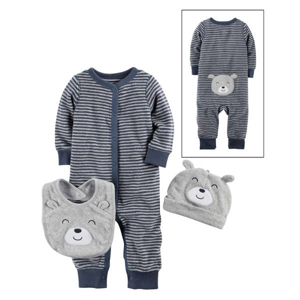 Infant Boys' Blue Stripe3-Piece Layette Set