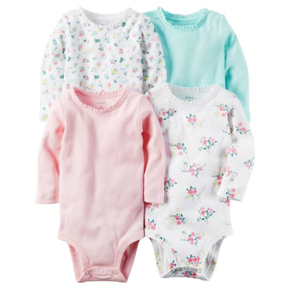 Infant Girls' Pink & Blue Bodysuits - 4 Pack