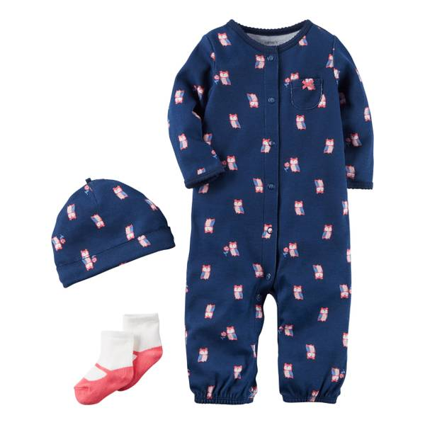 Baby Girls' Navy 3-Piece Layette Set