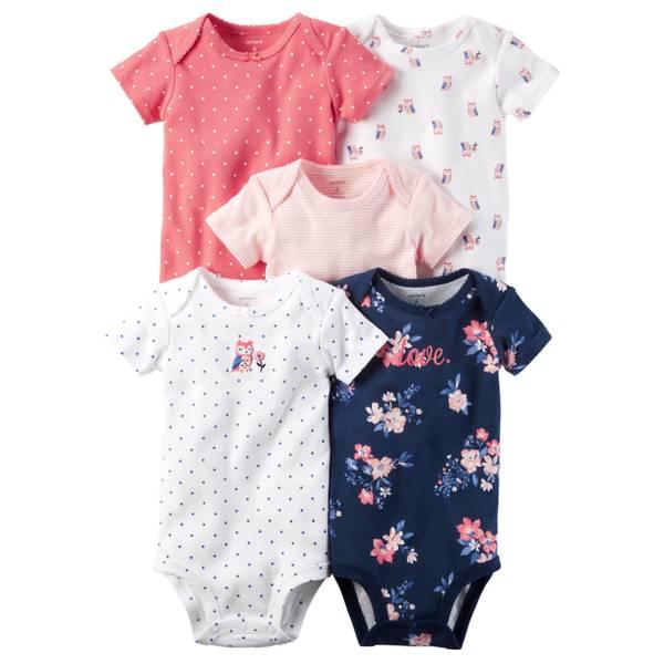 Baby Girls' 5-Pack Short Sleeve Bodysuits