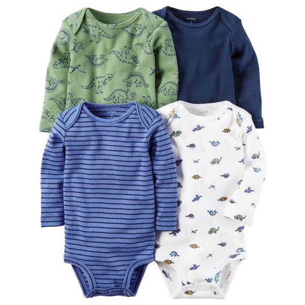 Baby Boys' 4-Pack Long Sleeve Bodysuits