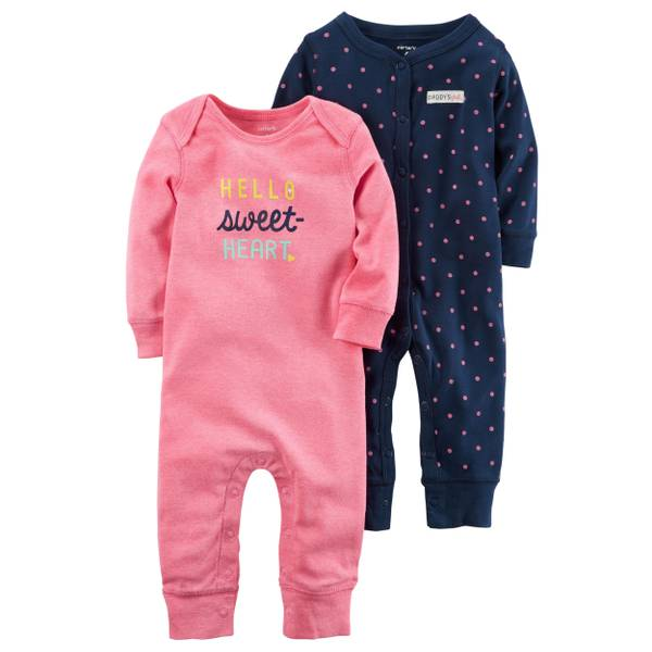 Baby Girls' 2-Pack Coverall Set
