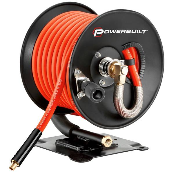 """3/8""""x50' Rubber Air Hose with Reel"""