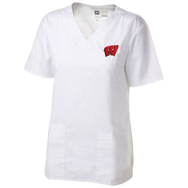 Misses White V Neck UW Scrubs Top