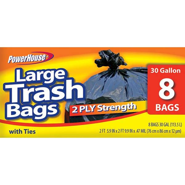 30 Gallon Trash Bags - 8 Count