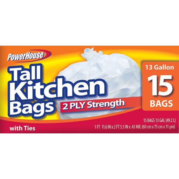 13 Gallon Tall Kitchen Bags - 15 Count