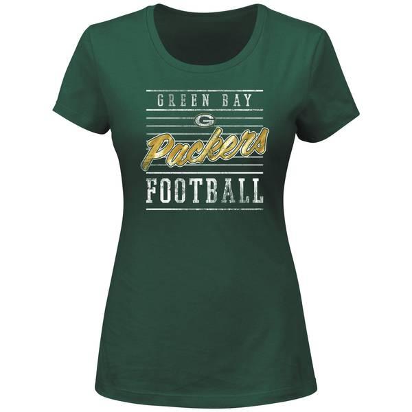 Misses Green Bay Packers Crew Foil Print Shirt