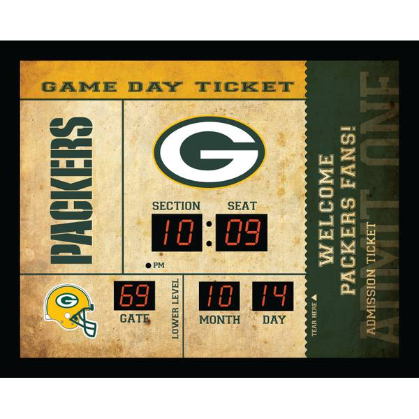 Green Bay Packers Ticket Stub Clock