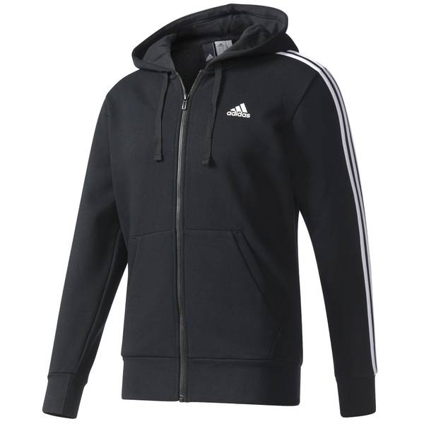 Men's Black & White Essentials Three-Stripes Fleece Hoodie