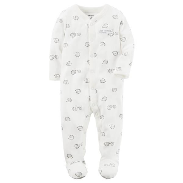 Baby Girl's Ivory Cotton Snap-Up Sleep & Play Pajamas