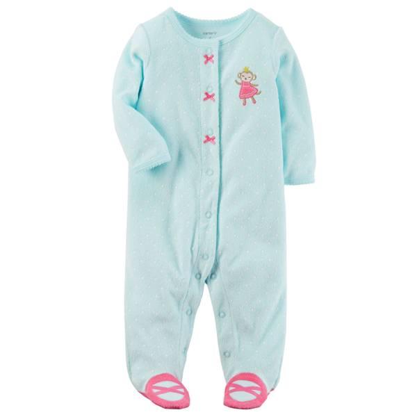 Baby Girl's Turquoise Terry Snap-Up Sleep & Play Pajamas