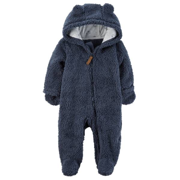 Baby Boy's Blue Hooded Sherpa Bunting