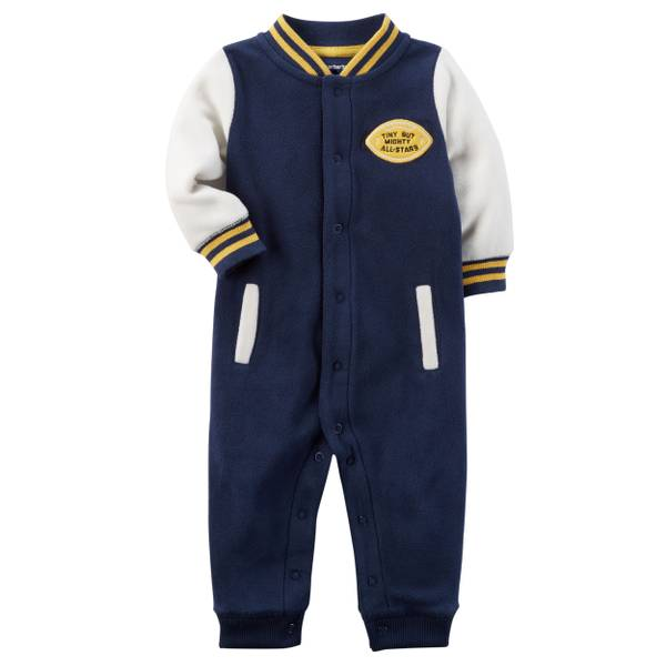 Baby Boy's Blue Fleece Varsity Jumpsuit