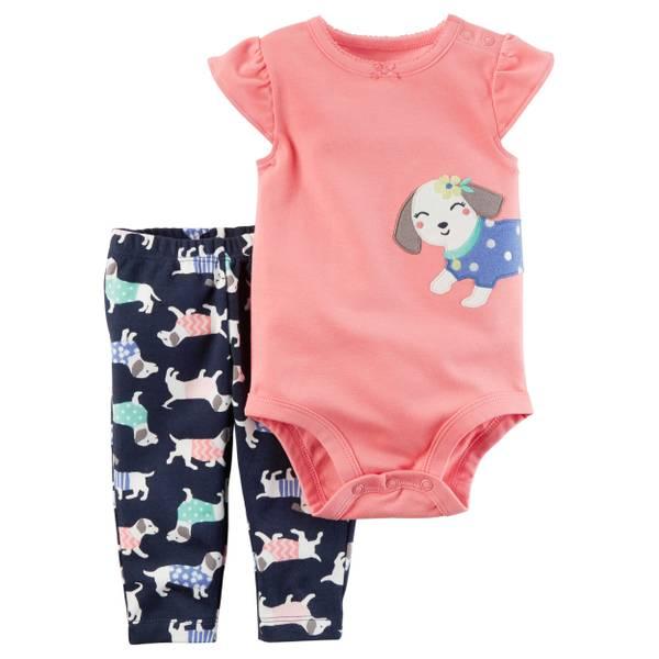 Baby Girl's Pink 2-Piece Applique Dog Bodysuit & Pants Set