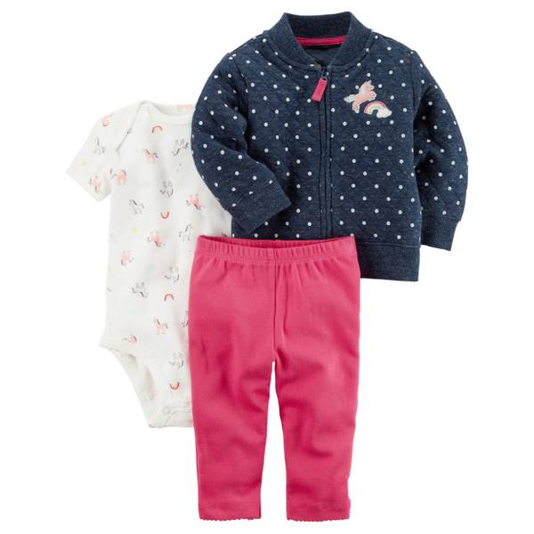 Baby Boy's Blue & White & Pink 3-Piece Little Jacket Set