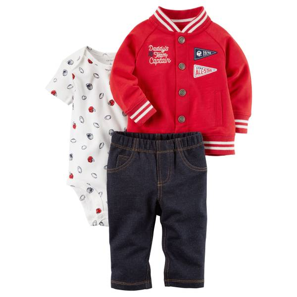 Infant Boys' Red & White 3-Piece Cardigan Set