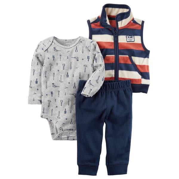 Infant Boy's Navy & Green & Gray 3-Piece Little Vest Set