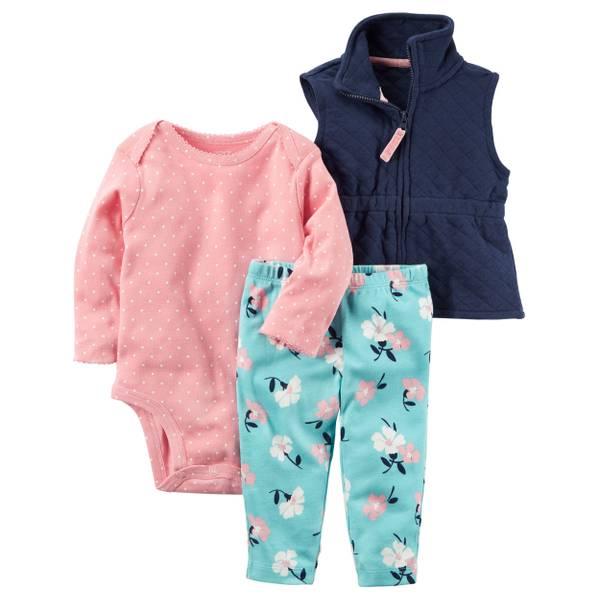 Baby Girls' Pink & Blue 3 Piece Vest Set
